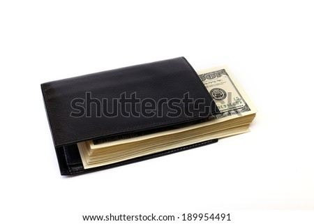 purse with dollar on a white background