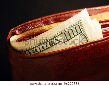 Purse with dollars - stock photo