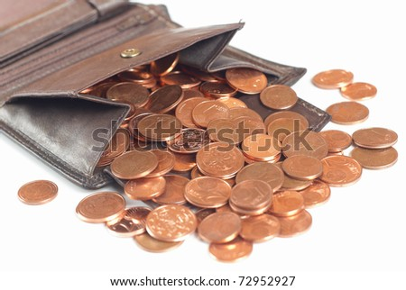 purse with euro cents isolated on white