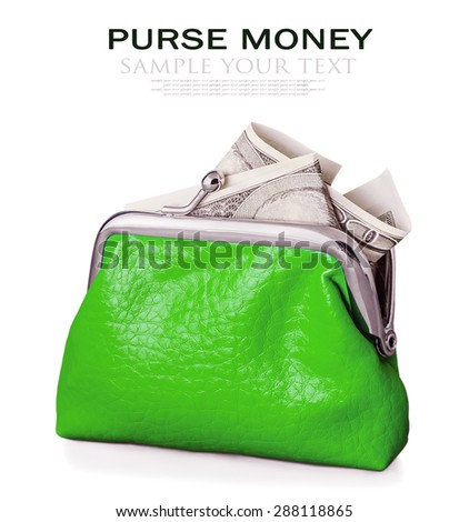 Purse with hundred euro banknote isolated on white background. Focus is on the purse. Sample text and deleted - stock photo
