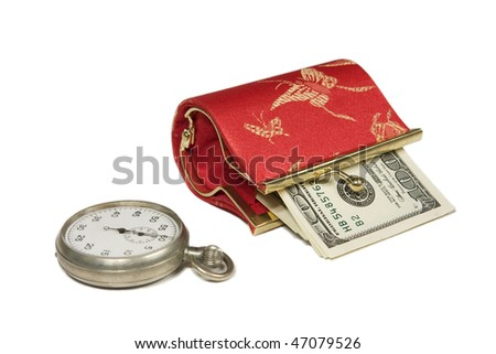 purse with money and old stopwatch