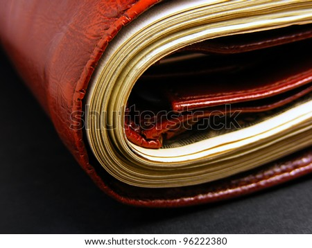 Purse with the big pack of dollars - stock photo