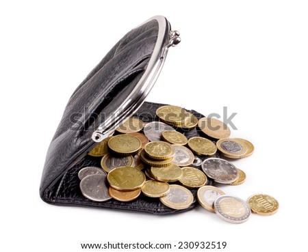 Purses and gold coins. On a white background - stock photo