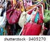 Purses at a street vendor in New York - stock photo