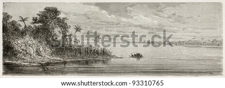 Purus river confluence with Amazon river, Brazil. Created by Riou, published on Le Tour du Monde, Paris, 1867 - stock photo