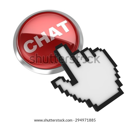 Push button - chat , 3d rendered image. - stock photo