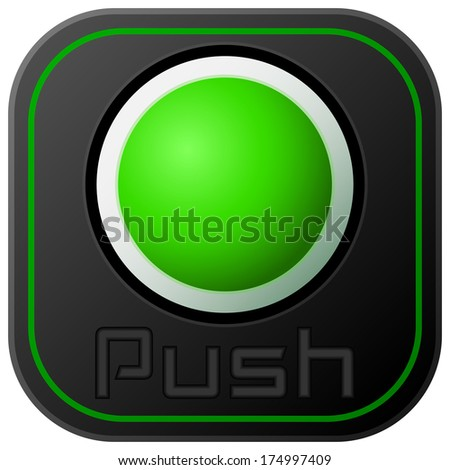 Push button isolated on white - stock photo
