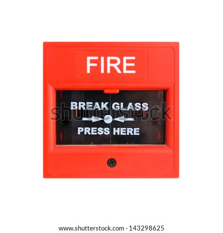 Push button switch fire isolate on white - stock photo