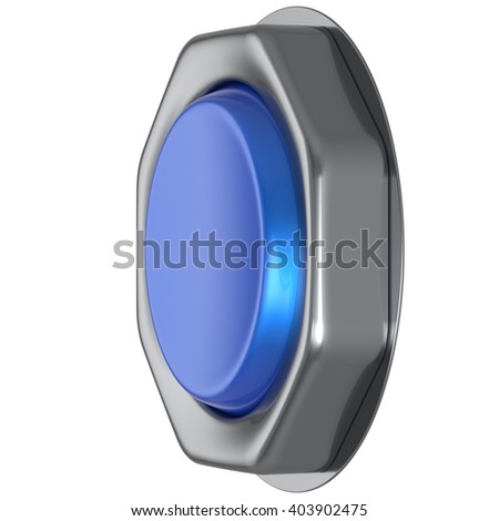 Push down button blue start turn on off action activate switch ignition power electric indicator design element metallic cyan shiny blank led lamp. 3d render isolated - stock photo