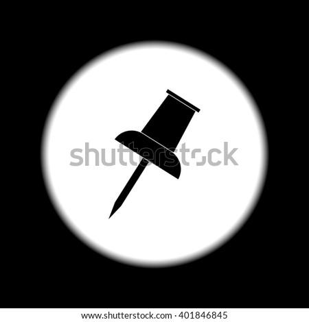 push pin icon. Flat design style  - stock photo