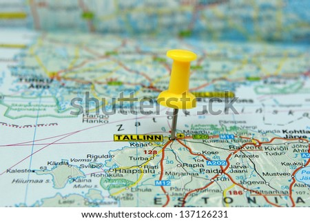 Push Pin On Tourist Map Tallinn Stock Photo Royalty Free 137126231
