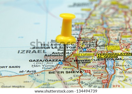 push pin pointing at Gaza - stock photo
