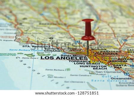push pin pointing at Los Angeles, USA - stock photo