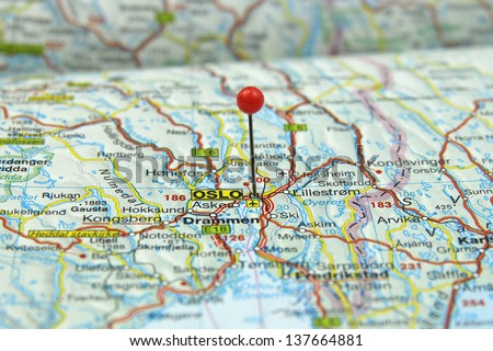 push pin pointing at Oslo, Norway - stock photo
