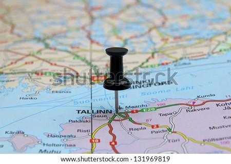 push pin pointing at Tallinn, Estonia - stock photo