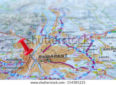 push pin pointing in Budapest, Hungary map - stock photo