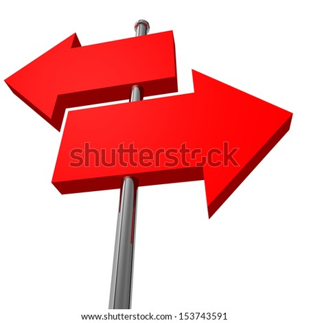 Push pins arrow isolated on white background