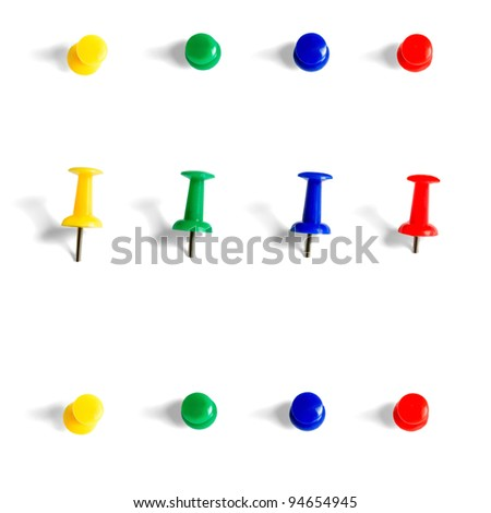 push pins collection objects isolated on white background - stock photo