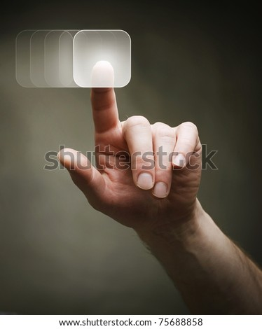 Push the Button. - stock photo