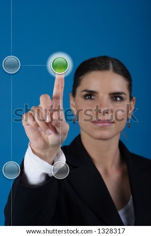 Push the green button - stock photo