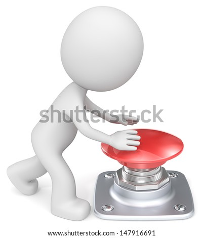 Push The Red Button. The Dude about to push large red button. - stock photo