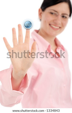 Push the solution button - stock photo