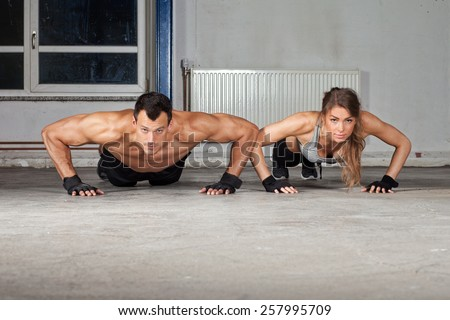 push up exercise - stock photo