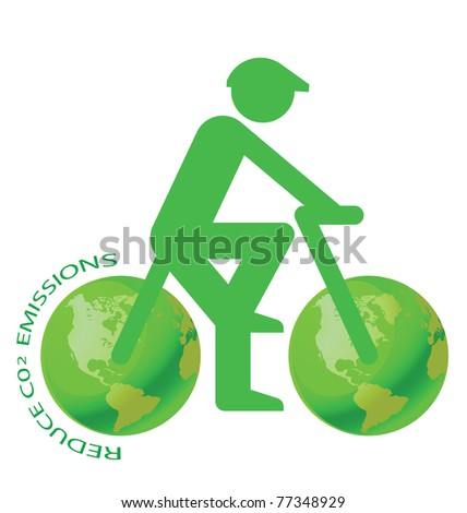Pushbike with green earth wheels C02 message - stock photo