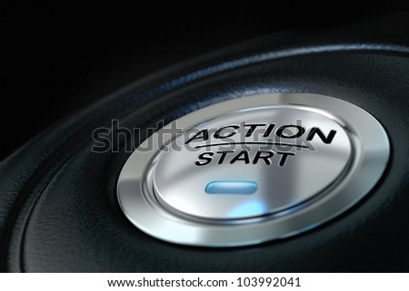 pushed action start button over black background, blue light, motivation concept - stock photo