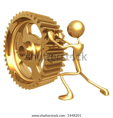 Pushing Gear - stock photo