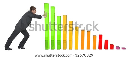 pushing graph - stock photo