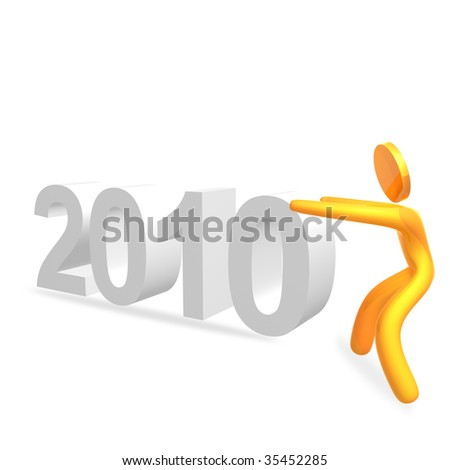 Pushing 2010 new year sign 3d humanoid pictogram icon