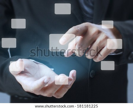 pushing on a touch screen interface