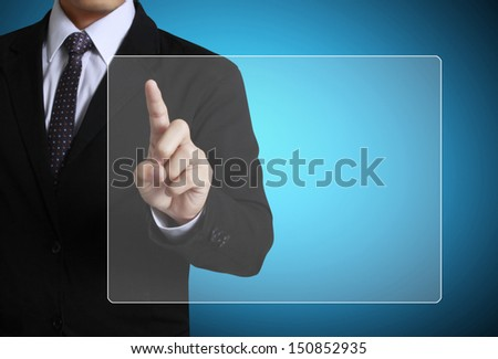 pushing on touch screen interface  - stock photo