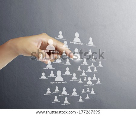 pushing social network structure  - stock photo
