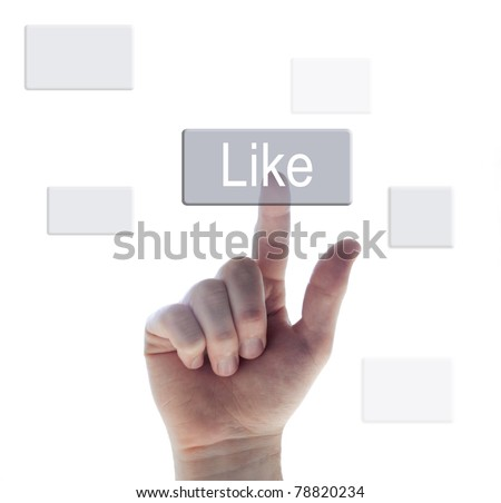 pushing the like button - stock photo