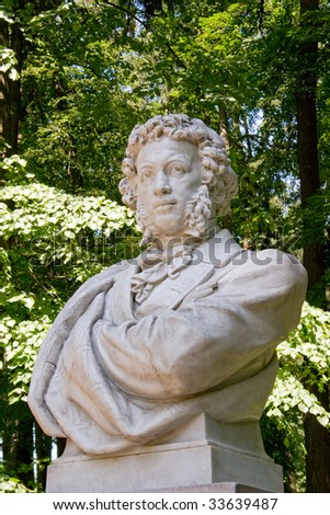 Pushkin (famous russian poet (1799 - 1837) bust in Arkhangelskoye estate in Moscow, Russia