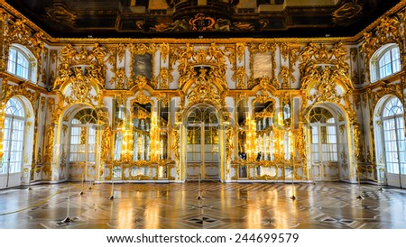 Pushkin, Saint Petersburg, Russia - June 13, 2011: The Great Hall, Catherine Palace. Created between 1752 and 1756 the Great Hall is the largest state room in the palace.   - stock photo