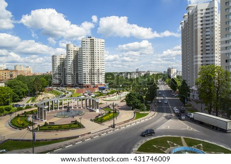 PUSHKINO, RUSSIA, on May 30, 2016. City landscape. View from above