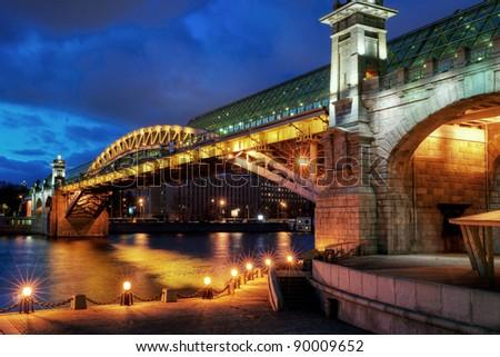 Pushkinsky bridge in Moscow, Russia - stock photo