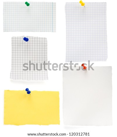pushpin and  checked note paper isolated on white background - stock photo