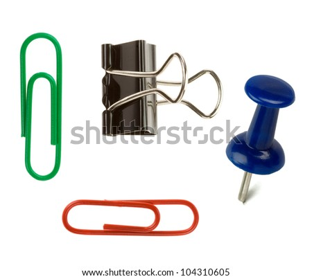 pushpin and paper clip isolated on white background - stock photo
