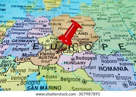 Pushpin marking on Austria map - stock photo