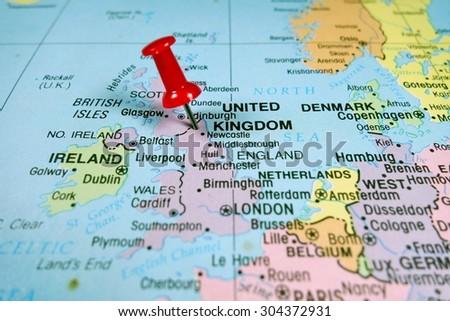 pushpin marking on United Kingdom  map - stock photo