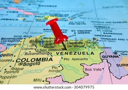 pushpin marking on  Venezuela map - stock photo