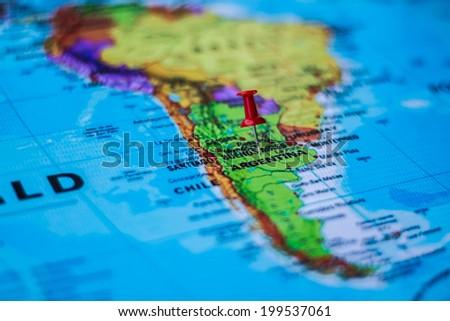 pushpin marking the location, Argentina - stock photo