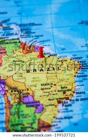 pushpin marking the location, Brazil - stock photo