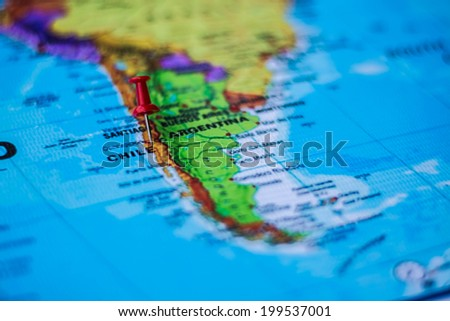 pushpin marking the location,Chile - stock photo
