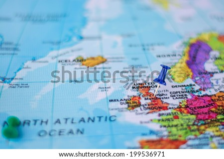 pushpin marking the location,England - stock photo