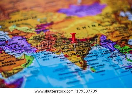 pushpin marking the location, India - stock photo